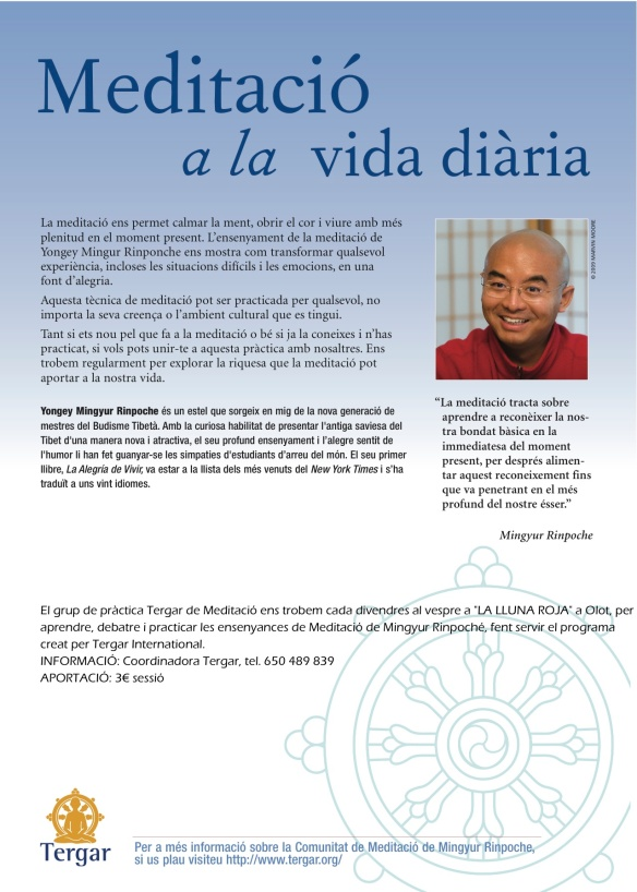 Cartell Apren a Meditar amb Mingyur Rinpoche (1)